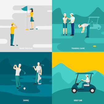 Juego de golf plano