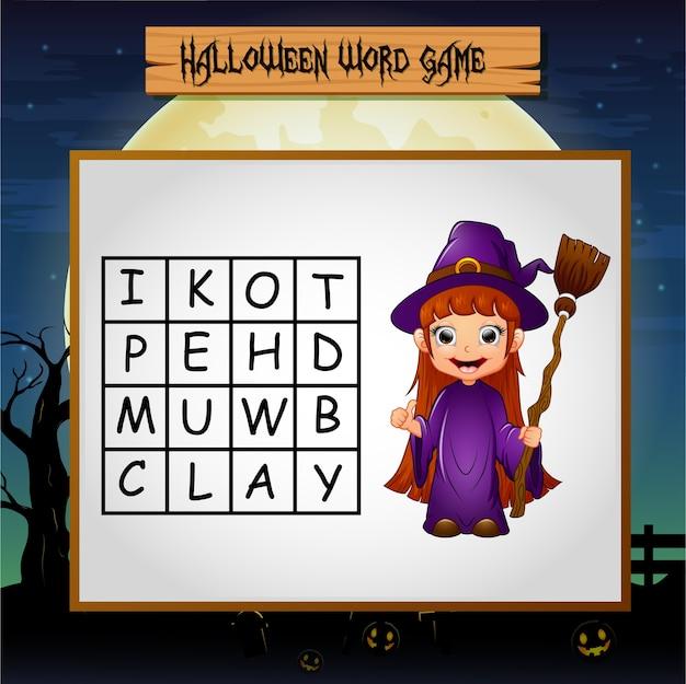 Juego de halloween encuentra la palabra bruja.