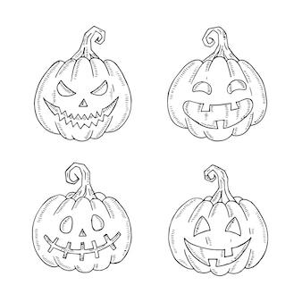 Juego de halloween de la lámpara jack en el estilo de dibujo aislado en blanco.