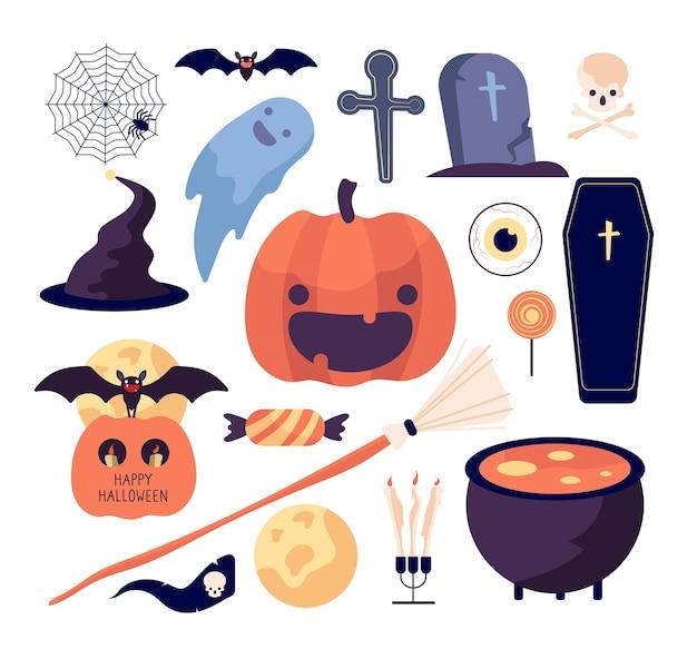 Juego de halloween. tela de araña y calabaza, murciélago y ataúd, tumba y luna, escoba y cráneo, dulces y colección aislada de velas. ilustración araña halloween, murciélago y escoba