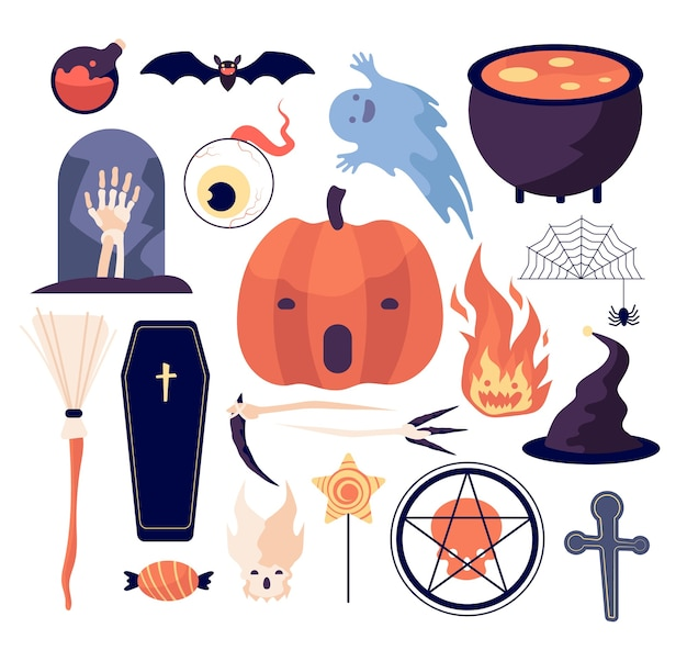 Juego de halloween. telaraña y calabaza, murciélago y ataúd, tumba y luna, escoba y cráneo, mano muerta y vela, ojos y fuego vector set. ilustración de miedo halloween, cráneo y globo ocular, fuego y tumba