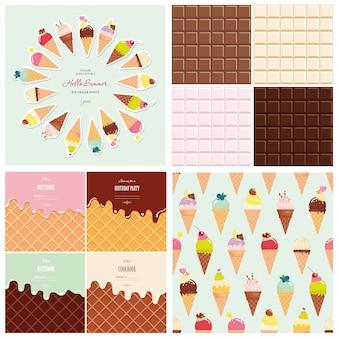 Juego de helados y chocolate