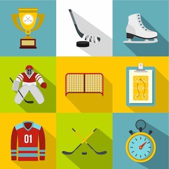 Juego de hockey, estilo plano