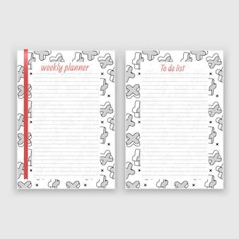 Juego de hoja de papel en formato a4 con planificador semanal y lista de plantillas de notas