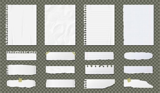 Juego de hojas en blanco de papel realista aislado en transparente