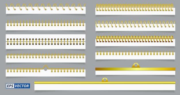 Juego de hojas de papel en espiral realistas o alambre en espiral de calendario o anillas de acero de carpeta de bloc de notas o metal