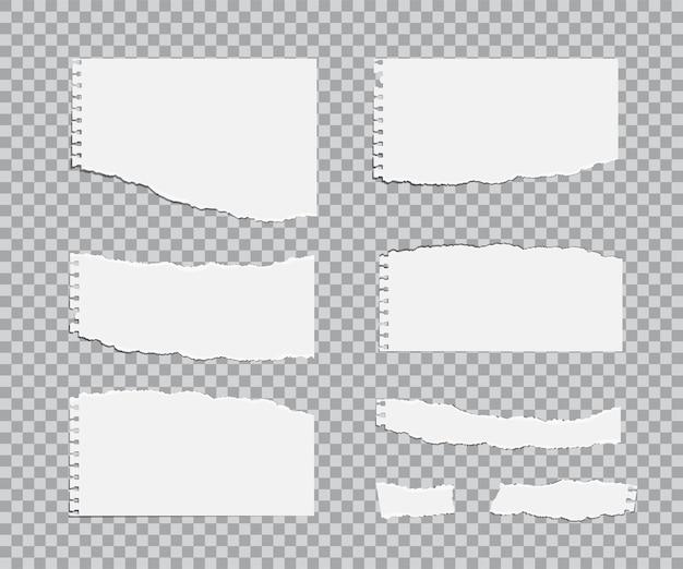 Juego de hojas de papel rasgadas en blanco.