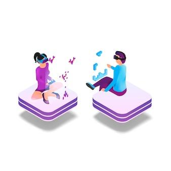 Juego de imágenes isométricas en realidad virtual en 3d