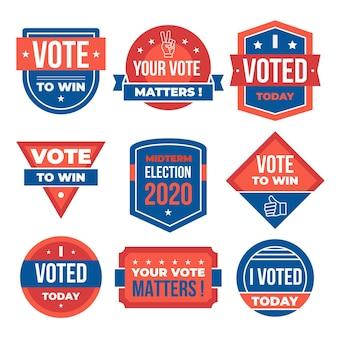 Juego de insignias y pegatinas de votación