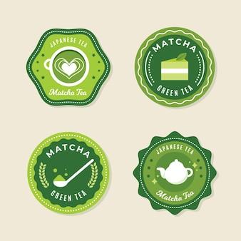 Juego de insignias de té matcha
