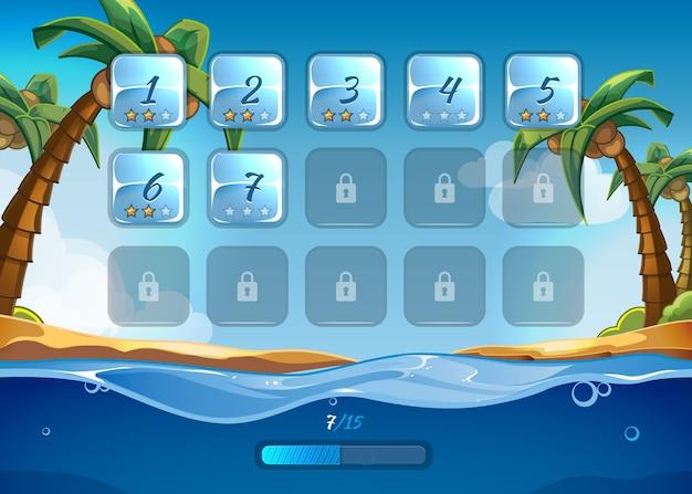Juego de isla con interfaz de usuario ui en estilo de dibujos animados. juego de aplicaciones, mar y aventura, agua y olas, juego y playa