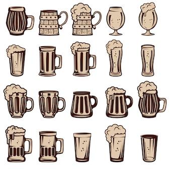 Juego de jarras de cerveza y vasos. elementos para, etiqueta, emblema, signo. ilustración.