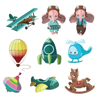Juego de juguetes para niños. ilustración para niños. coche de juguete. dibujo de dibujos animados.