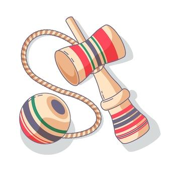 Juego de kendama de madera dibujado a mano