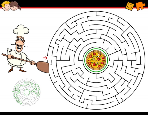 Juego de laberinto de dibujos animados con chef y pizza