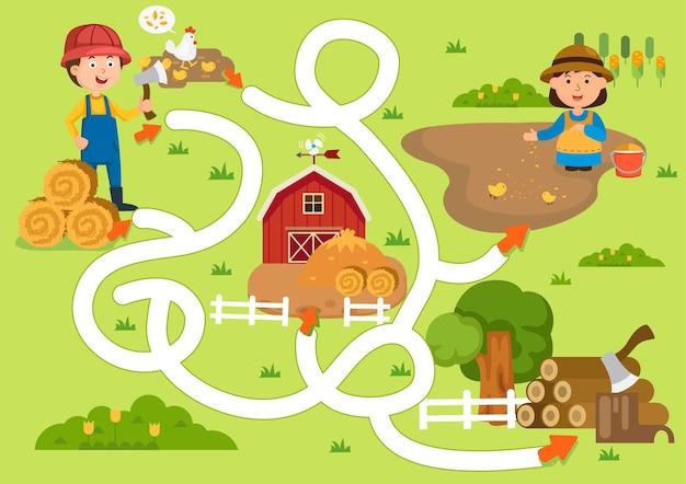 Juego de laberinto educativo para niños ilustración