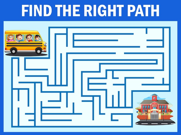 Juego de laberinto encuentra el camino del autobús escolar llegar a la escuela