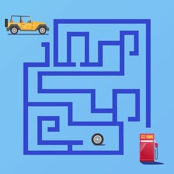 El juego de laberinto encuentra el camino del automóvil a la estación de servicio vector premium para la educación y la colección de los niños
