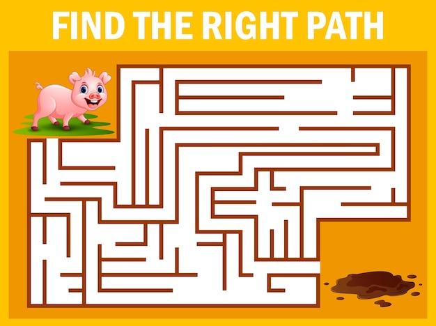 Juego de laberinto encuentra el camino del cerdo para llegar al barro