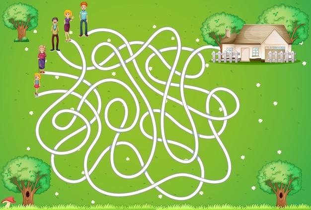 Juego de laberinto con familia y casa.
