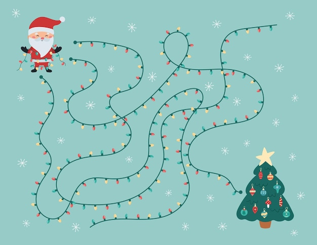 Juego de laberinto navideño para niños en edad preescolar, ayuda a papá noel a encontrar el camino correcto hacia el árbol de navidad