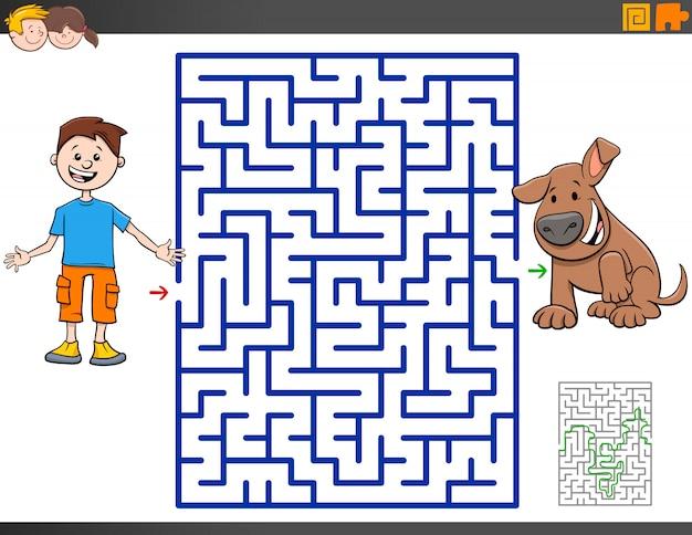 Juego de laberinto con niño de dibujos animados y cachorro