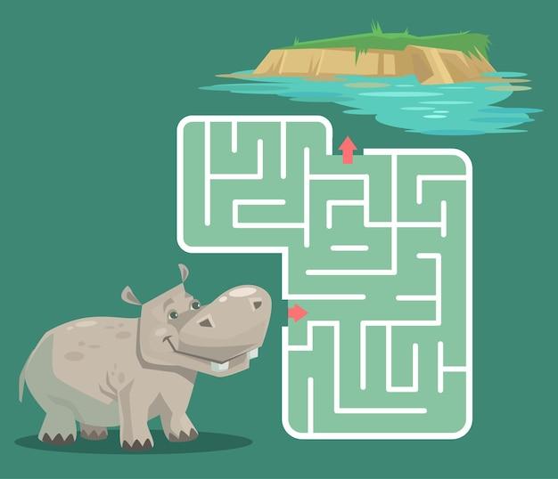Juego de laberinto para niños con ilustración de dibujos animados de hipopótamo