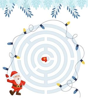 Juego de laberinto para niños que educan en casa en navidad.