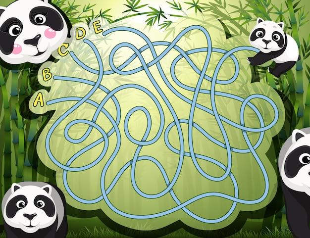 Juego de laberinto con panda y bambú.