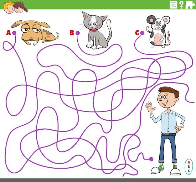 Juego de laberinto con personajes de niño y mascota