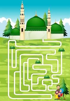 Juego de laberinto con personas y mezquita
