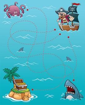 Juego de laberinto pirata educativo