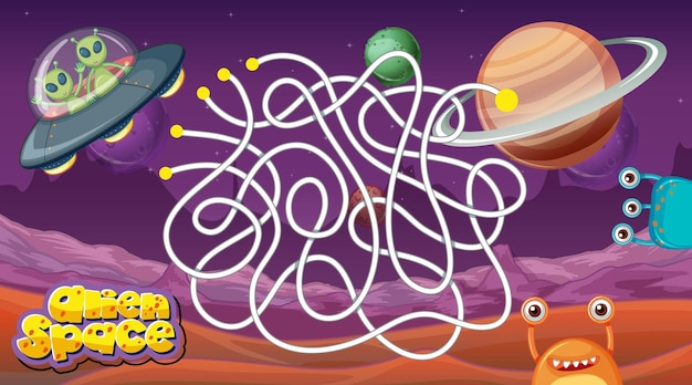 Juego de laberinto con plantilla de tema espacial