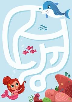 Juego de laberinto de sirena para niños ilustración vectorial