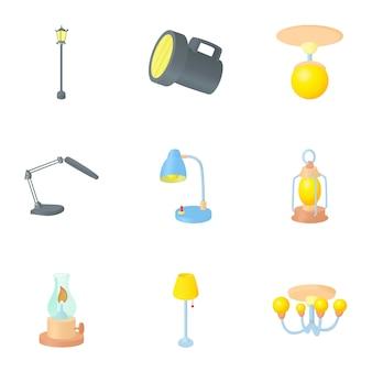 Juego de lámparas, estilo de dibujos animados