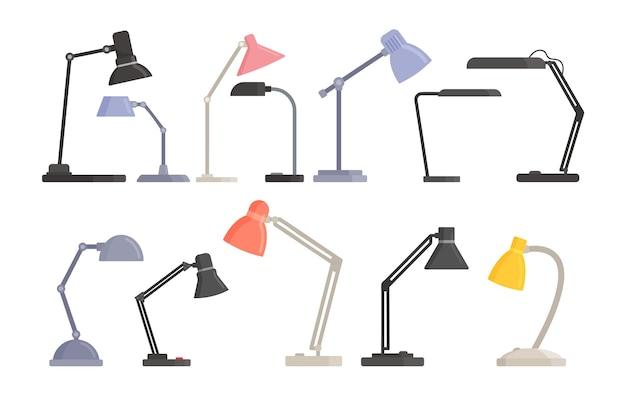 Juego de lámparas transformadoras de mesa modernas para iluminación de trabajo y habitaciones. bombillas de escritorio, suministros eléctricos para decoración del hogar de varios diseños de moda aislado sobre fondo blanco. ilustración vectorial de dibujos animados