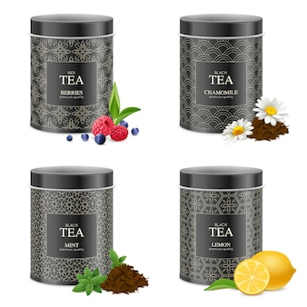 Juego de latas de té blak realistas