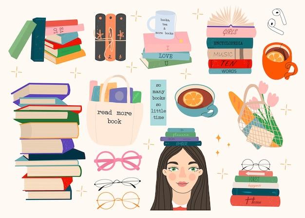 Juego de lectura con libros, niña, flores, taza de té, auriculares, gafas y citas.