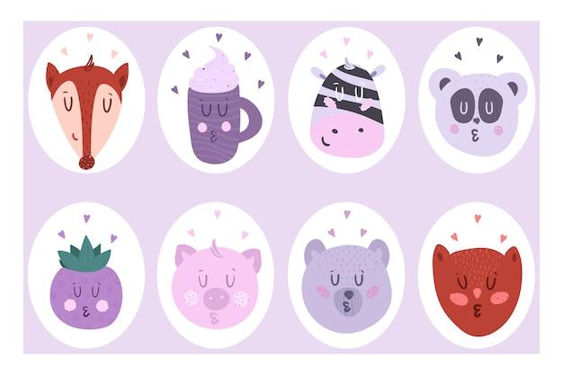 Un juego de lindas pegatinas de ocho piezas. ilustración de vector de animales.