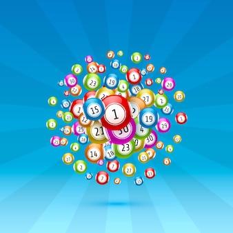 Juego de lotería, bolas con números, sobre un fondo de color. ilustración de vectores