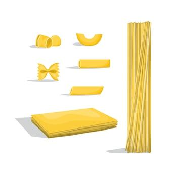 Juego de macarrones. diferentes tipos de pasta. comida italiana