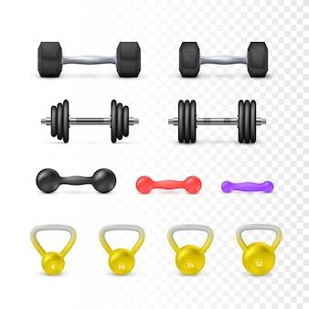 Juego de mancuernas y peso. equipos de fitness y musculación.