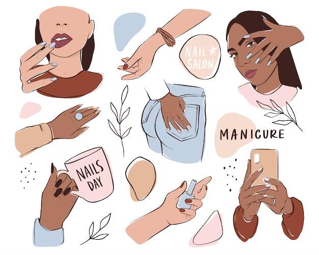 Juego de uñas y manicura. manos femeninas con diferentes colores de piel, sostienen esmalte de uñas o teléfono.