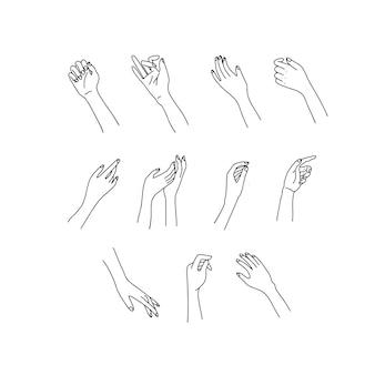 Juego de mano lineal de mujer. manos femeninas de diferentes gestos. lineart en un estilo minimalista de moda.