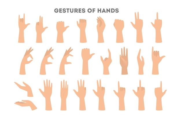 Juego de manos mostrando diferentes gestos. palma apuntando a algo. ilustración