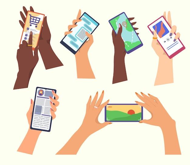 Juego de manos sosteniendo teléfonos inteligentes. ilustración de dibujos animados