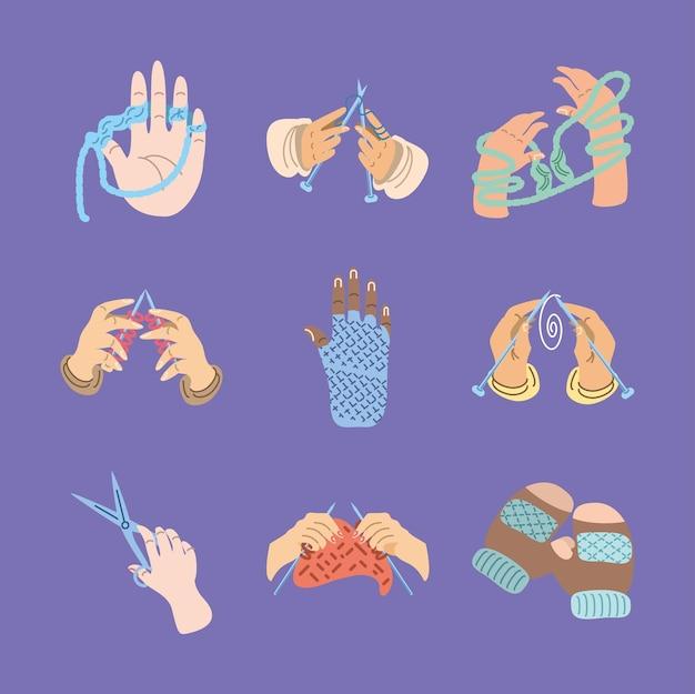 Juego de manos tejiendo