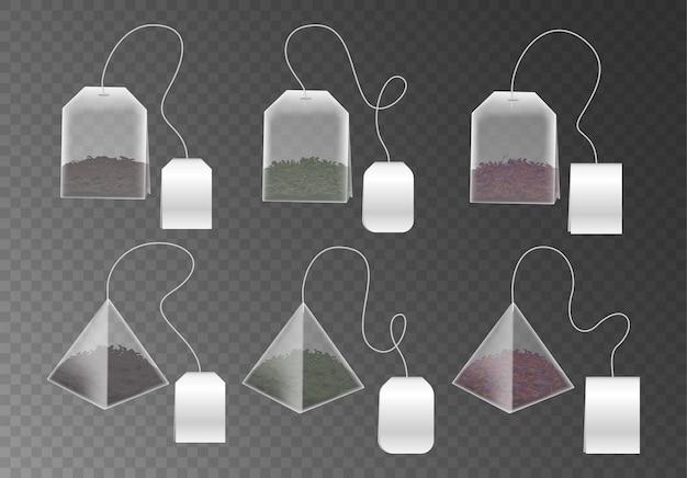 Juego de maquetas de bolsitas de té en forma de pirámide y rectángulo