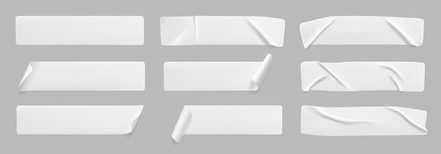Juego de maquetas de pegatinas arrugadas pegadas en blanco con esquinas rizadas papel adhesivo blanco en blanco