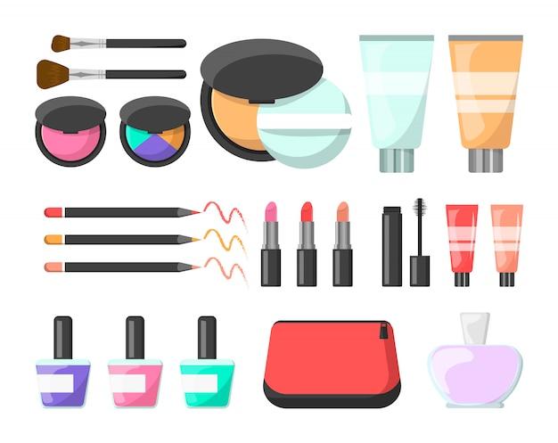 Juego de maquillaje. crema, cepillo cosmético, rímel y perfume